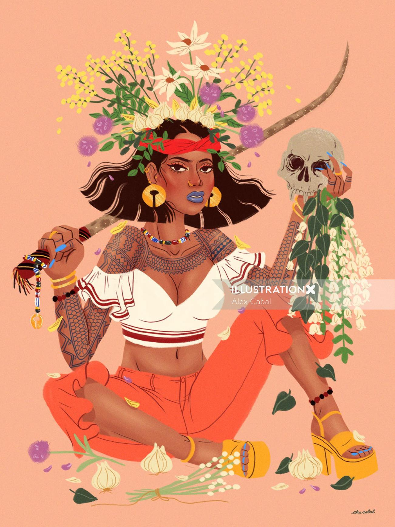 lifestyle of woman with flowers