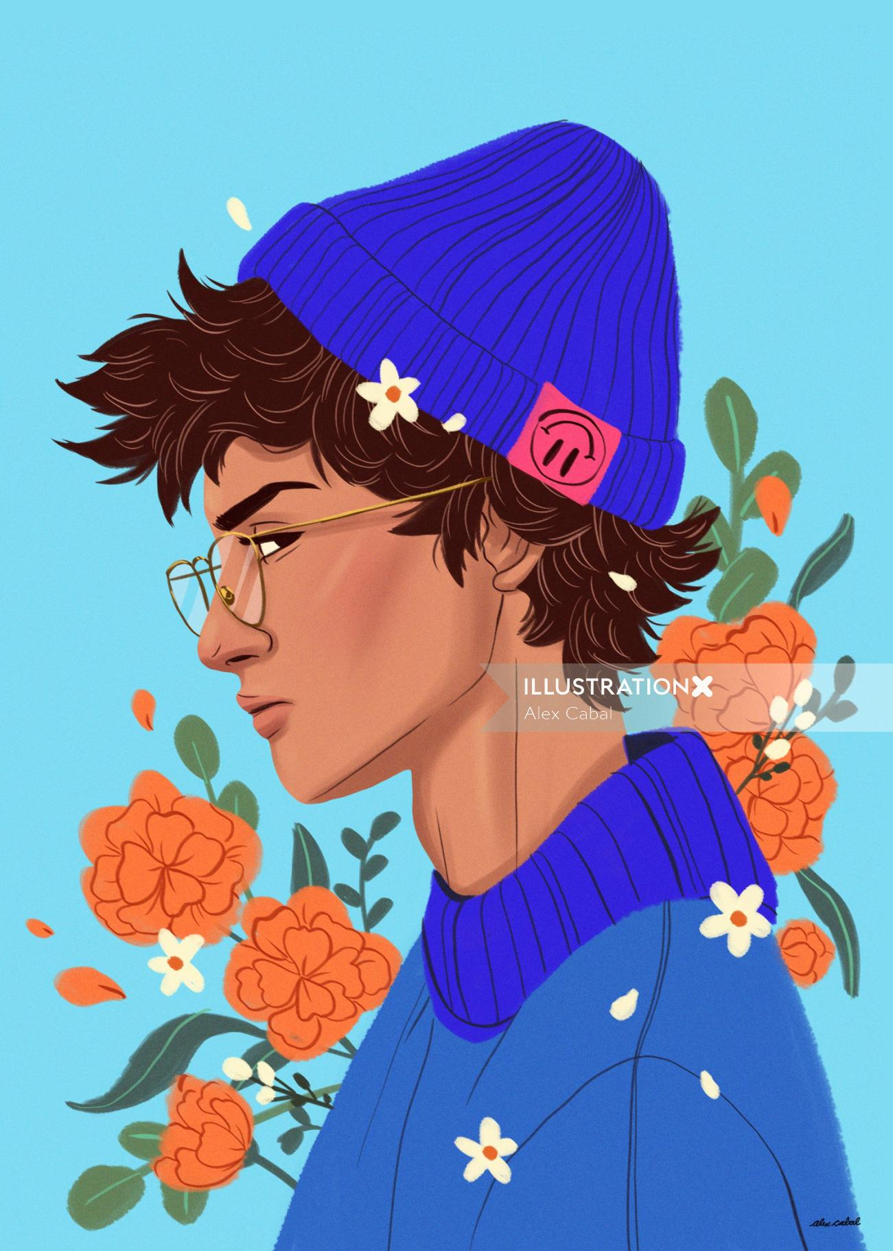 Digital illustration of girl with flowers