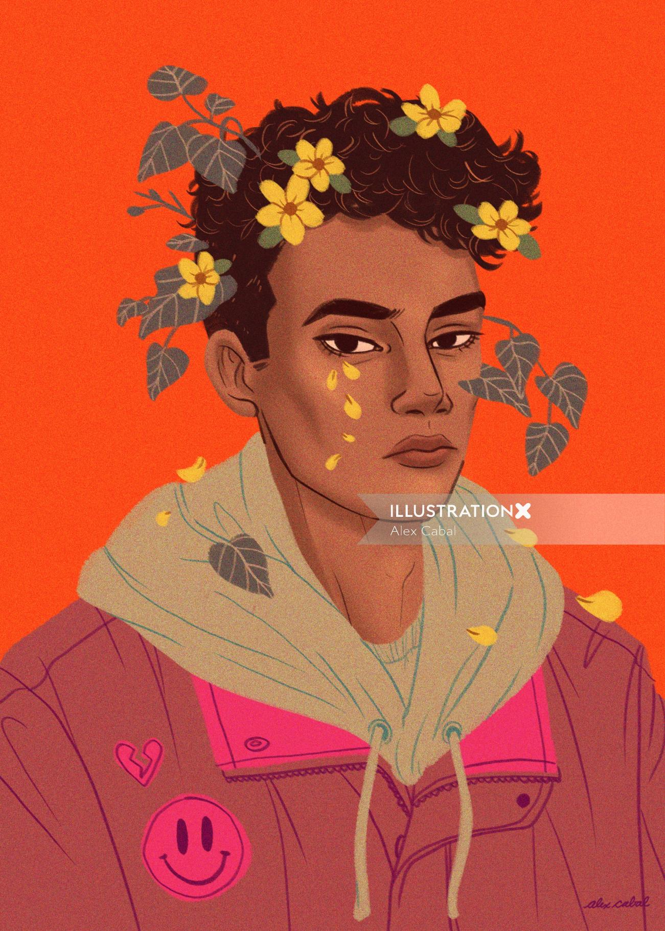 Graphic illustration of boy with flowers