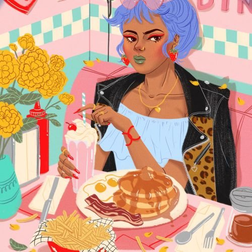 Editorial illustration of woman with food
