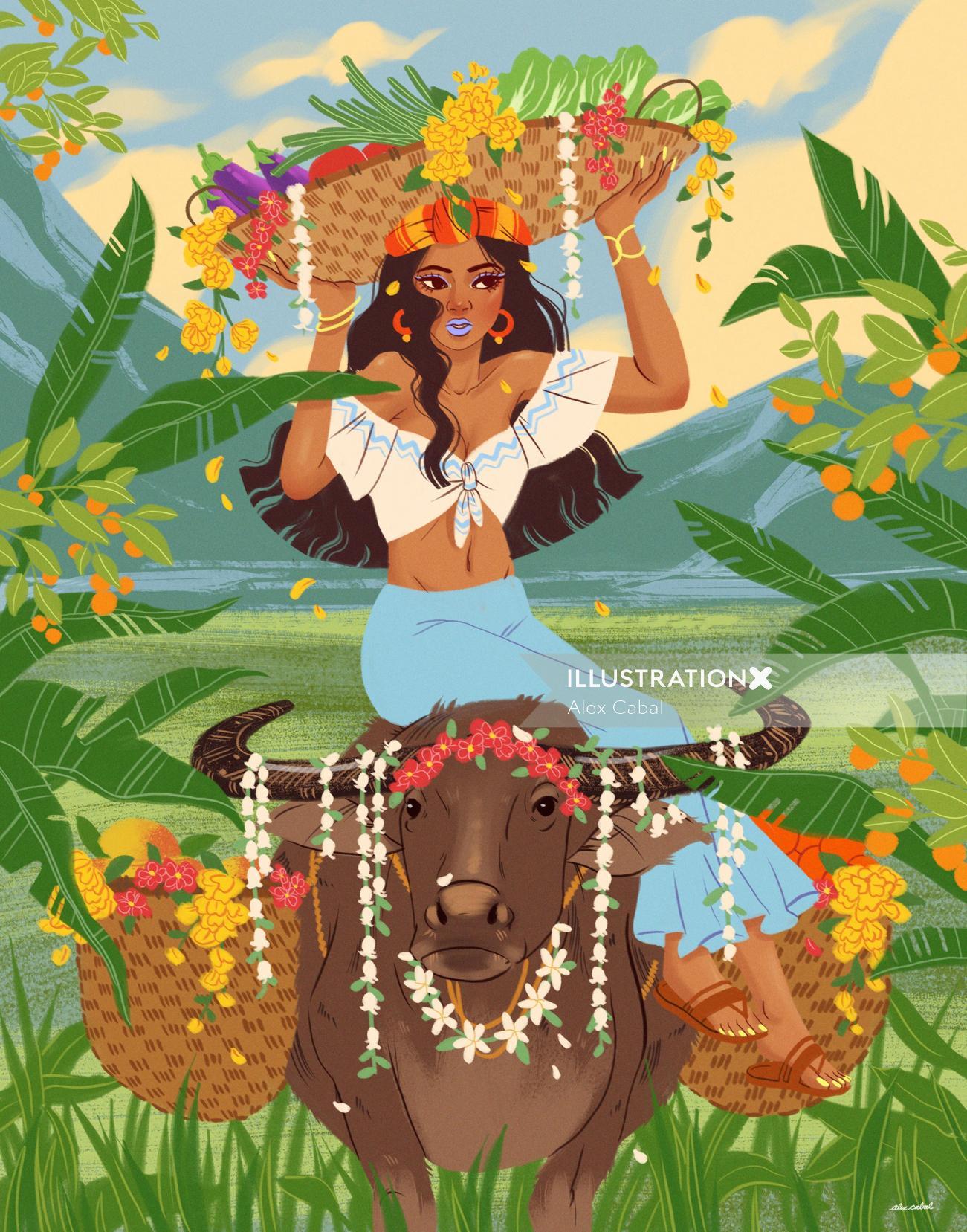 Fashion illustration of fruit girl
