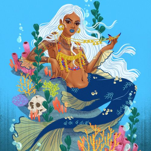 Lady fish fashion illustration