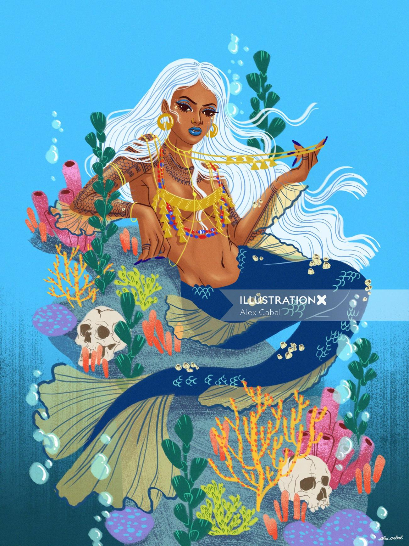 Lady fish fashion illustration