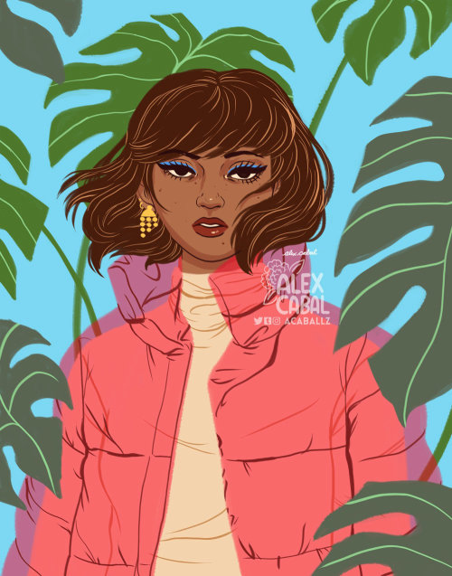 Stylistic woman with plants background