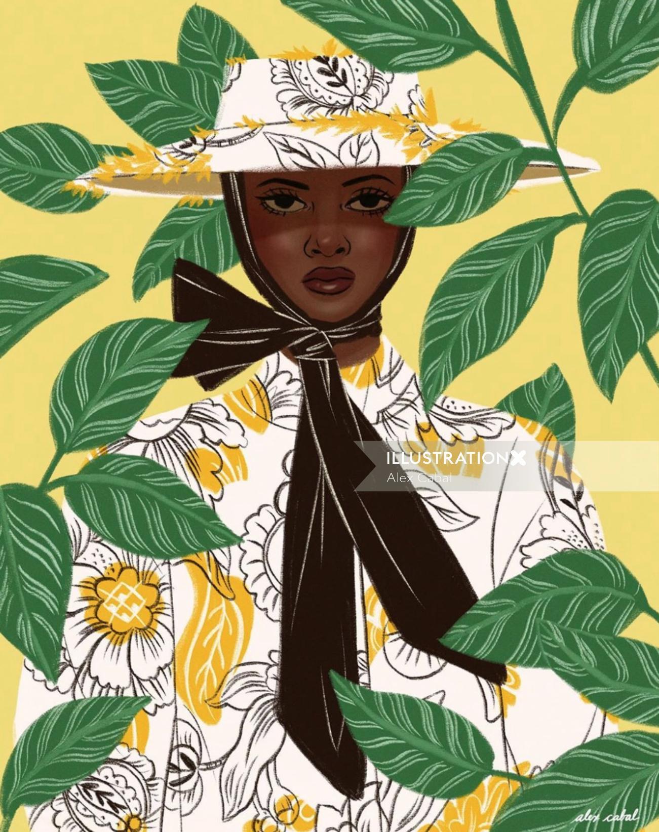 Decorative woman in nature