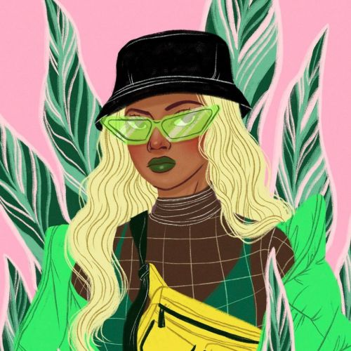 Decorative woman with green goggles