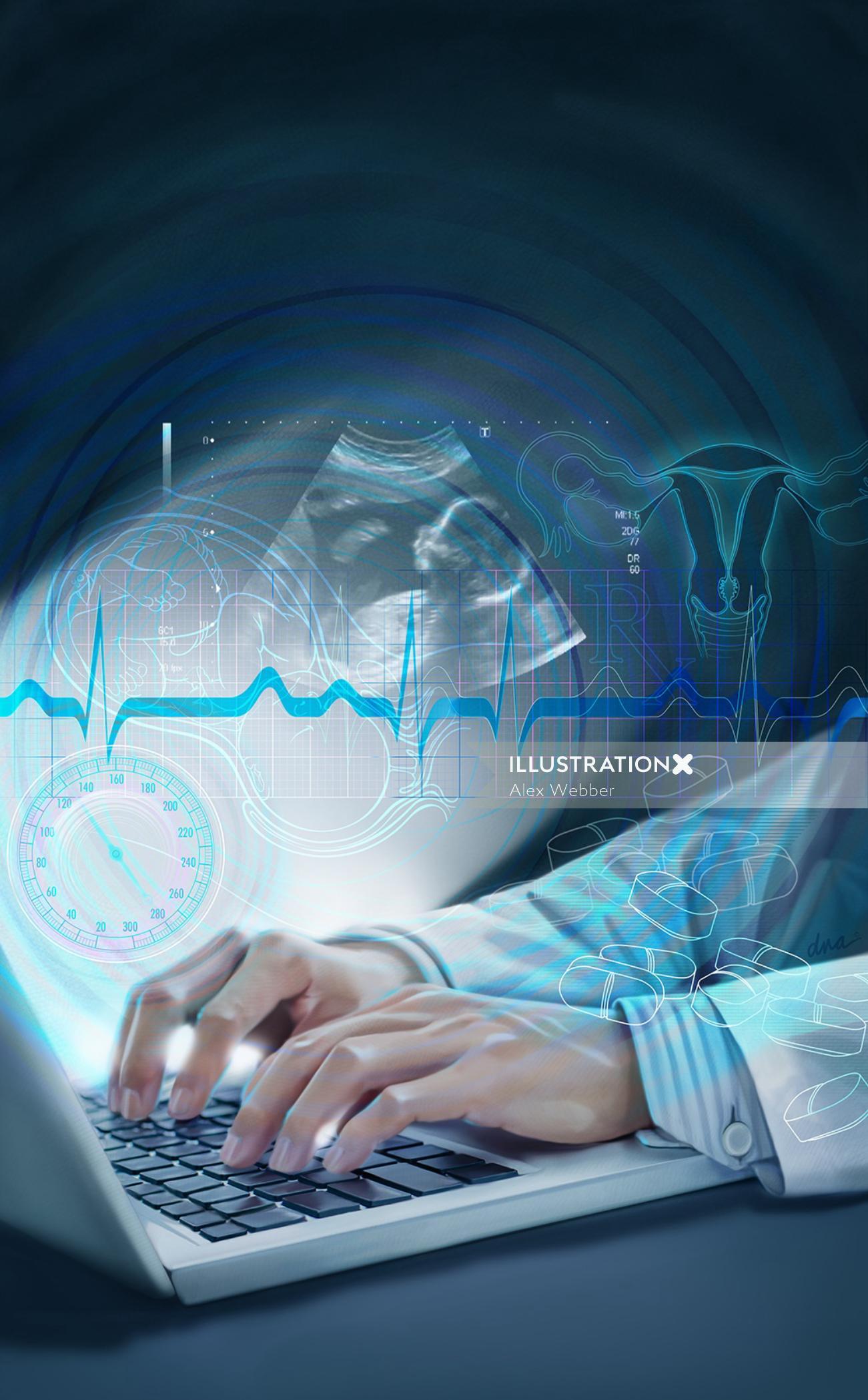 Telemedicine medical illustration