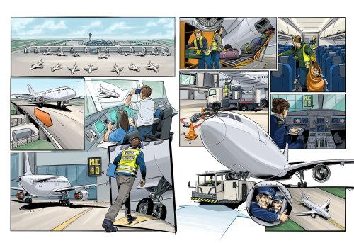 Projeto infográfico da equipe do aeroporto