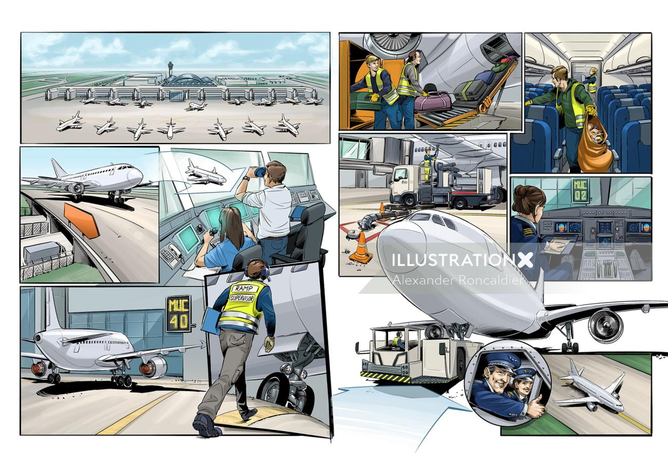Infographic design of airport staff