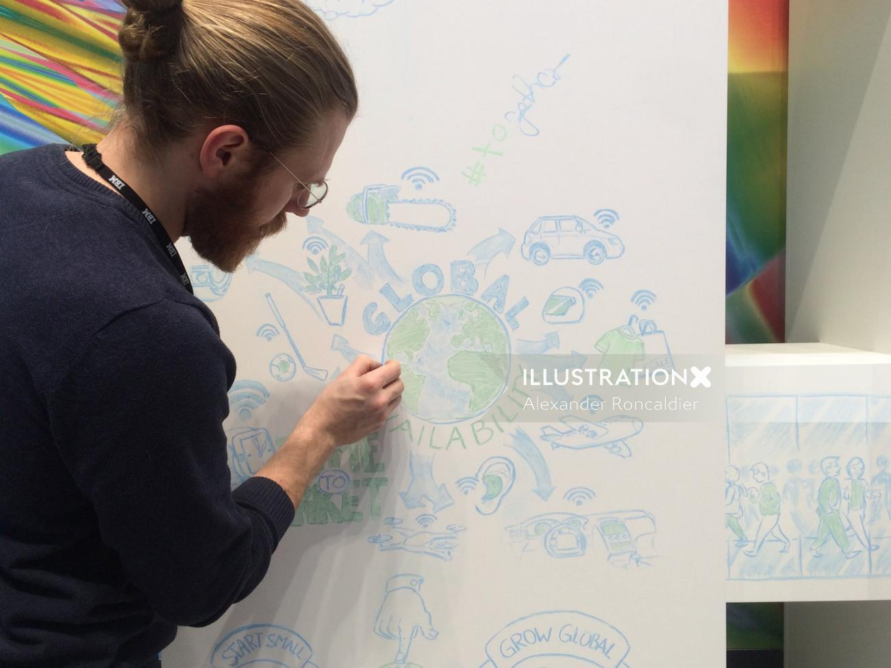 Live drawing illustration by Alexander Roncaldier