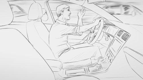 Arte de dirigir carro