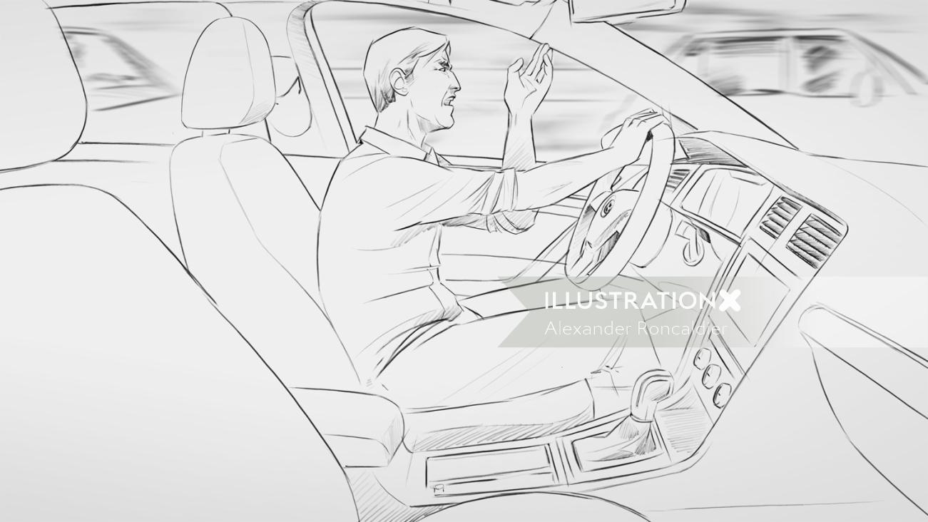 Line art of driving car