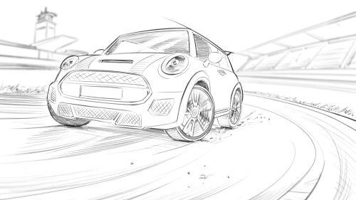 Desenho de linha do carro mini cooper