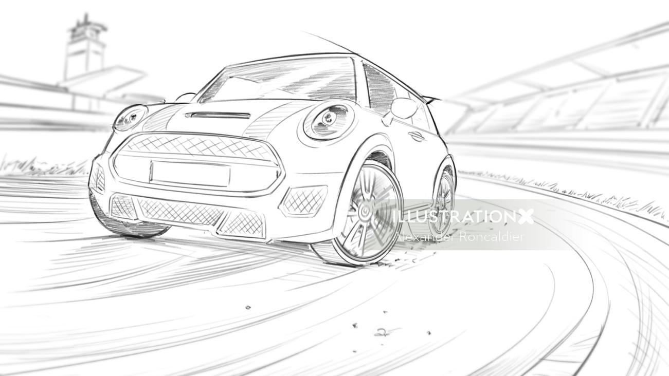 Mini cooper car line drawing