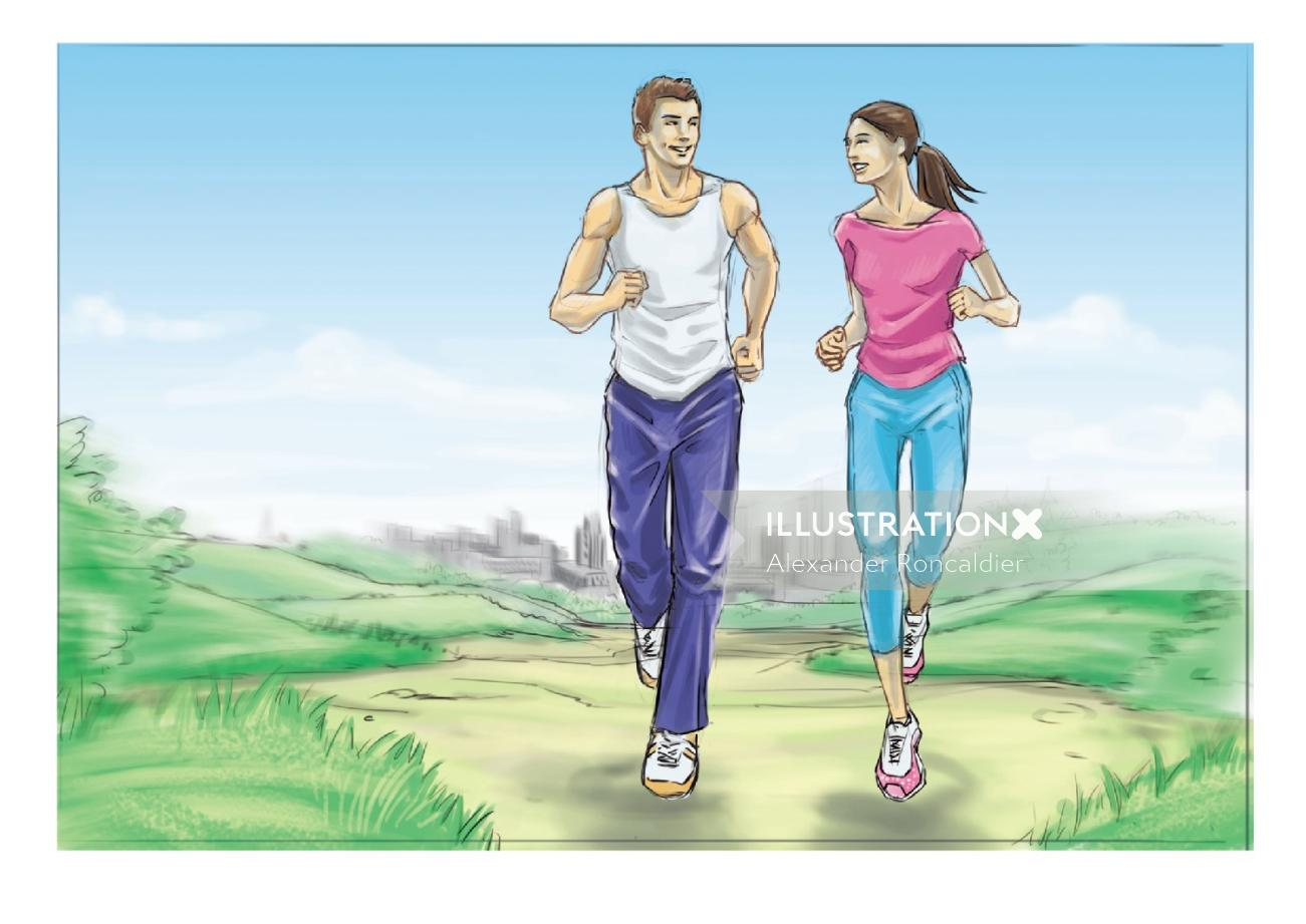 Infographic art of people jogging