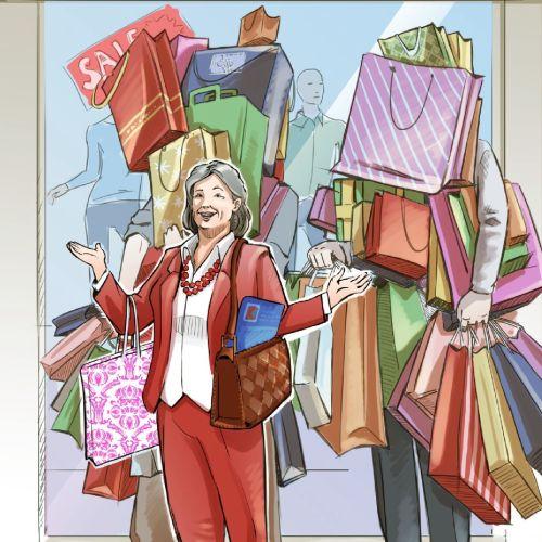 2d illustration of women shopping