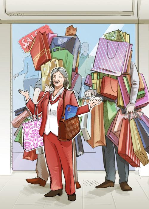 Ilustração 2d de mulheres comprando