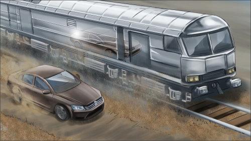 Ilustração 2D do trem