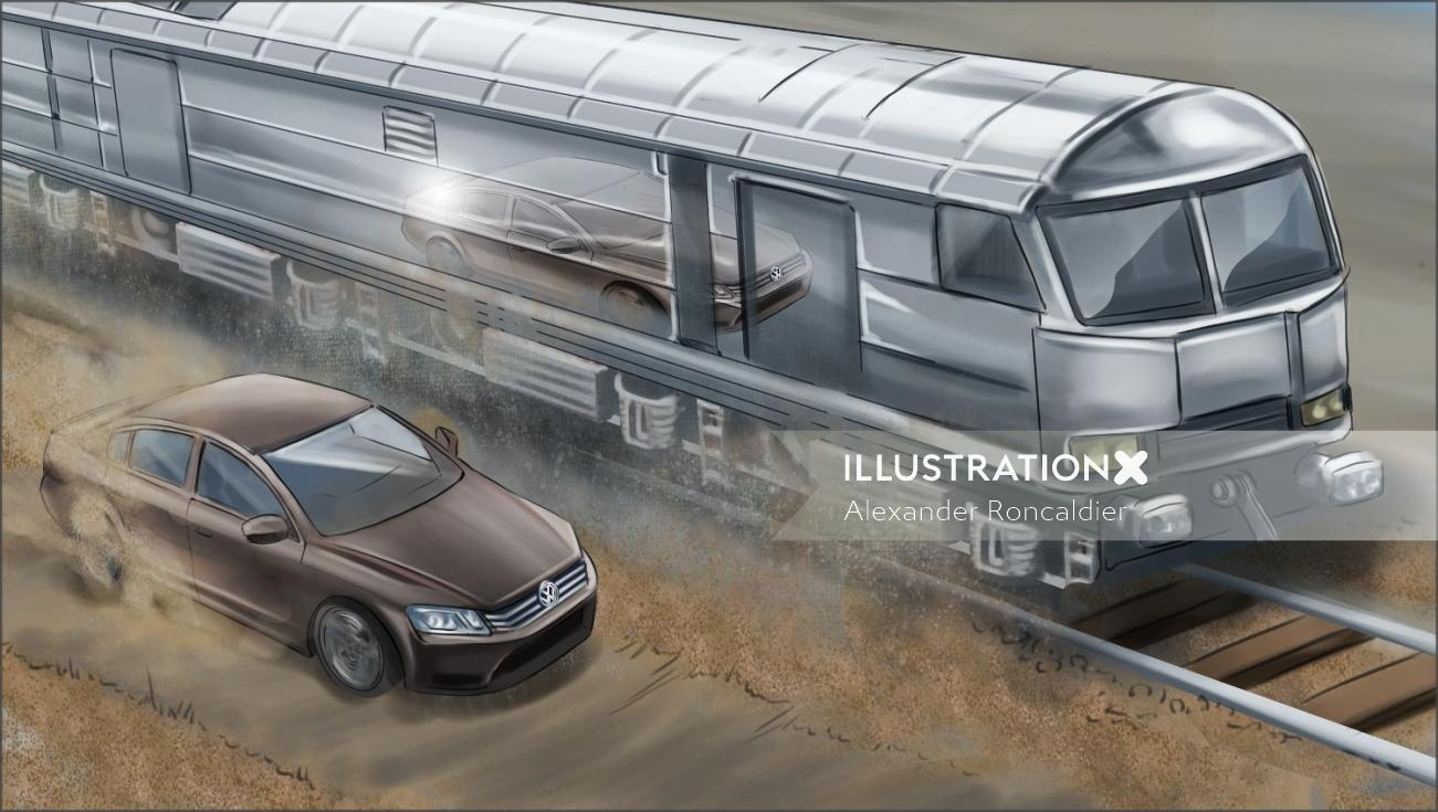 2D illustration of train