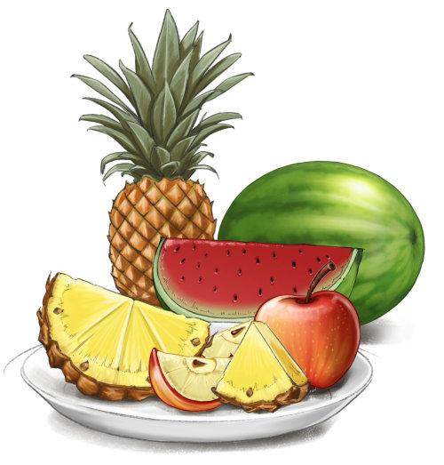 Desenho infográfico de frutas