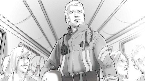 Ilustração 2d do homem piolet