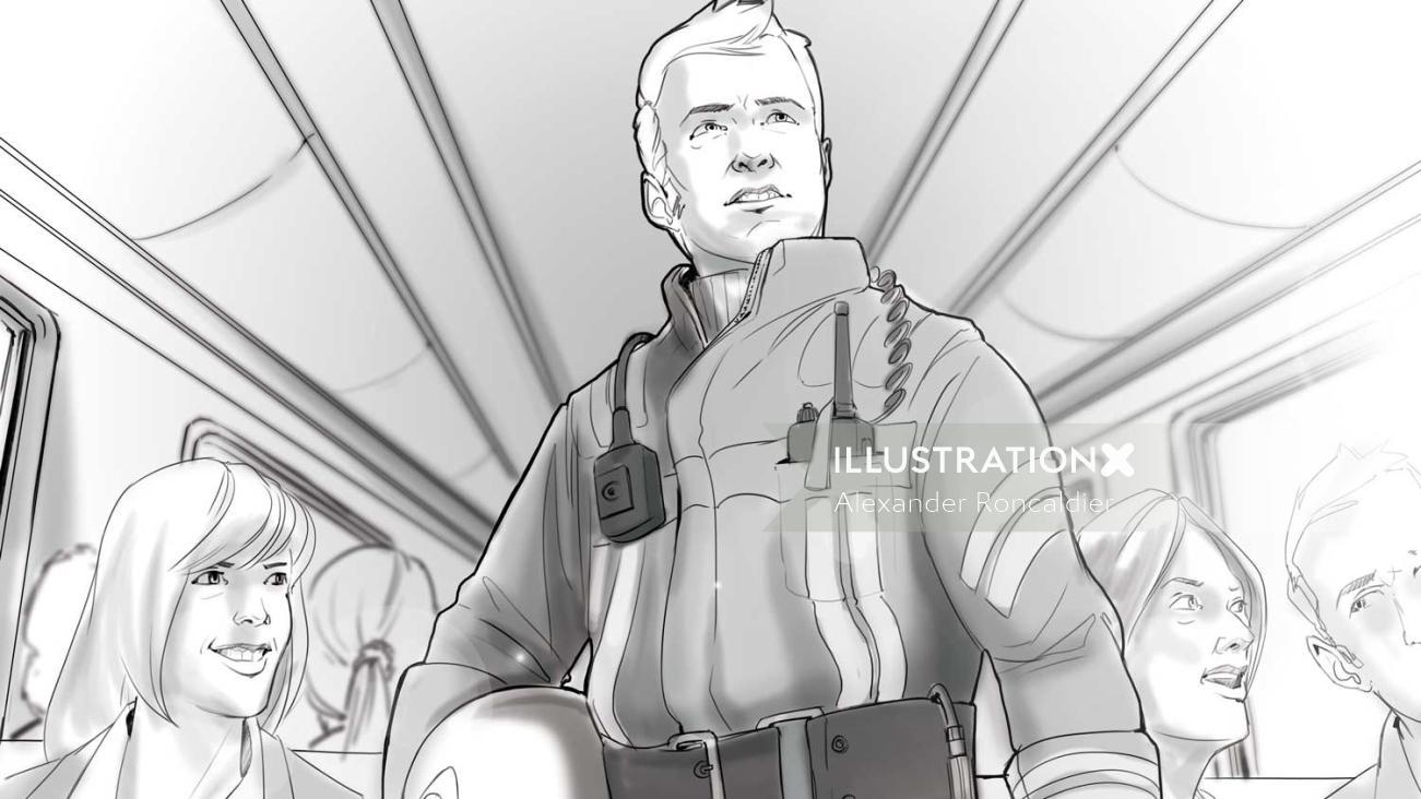 2d illustration of piolet man