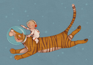 astronaut boy rides on a tiger