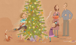people illustration of celebrating Christmas