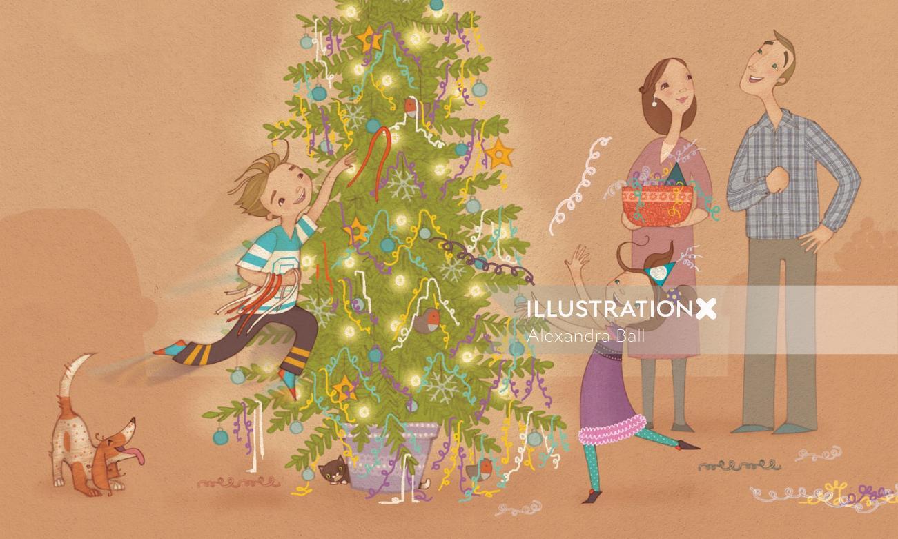people illustration of celebrating Christmas