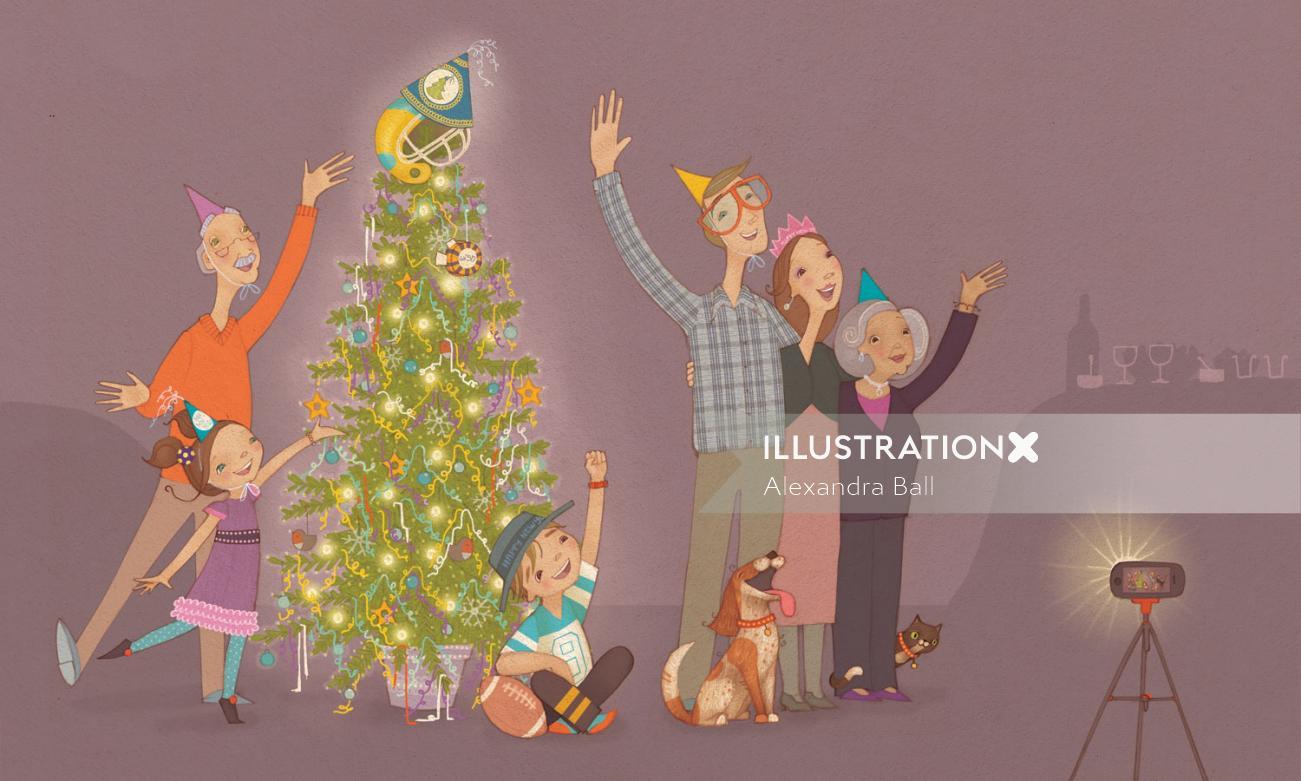 family stand around the christmas tree