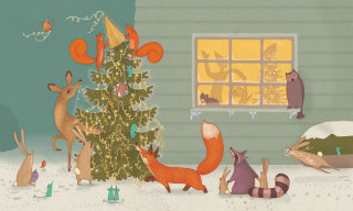 An illustration of animals decorate their new year tree