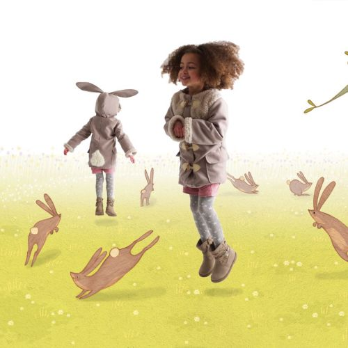 kids playing with rabbits