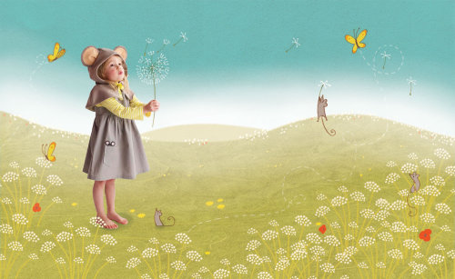 little girl with flowers in spring view illustration