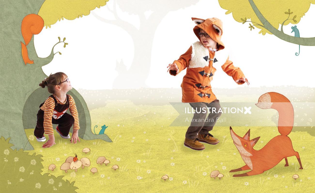Nature illustration of boy and dog friendship