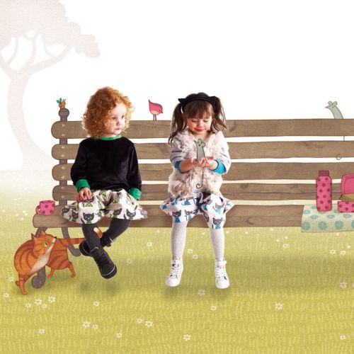 Kids sitting on bench