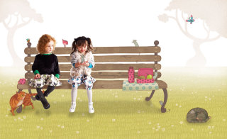 Kids sitting on bench
