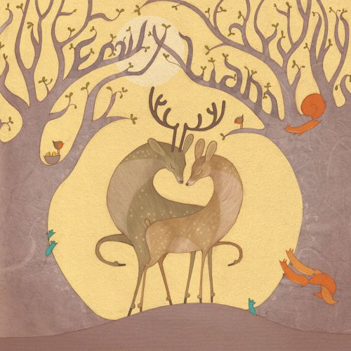 Nature illustration of Deer in love