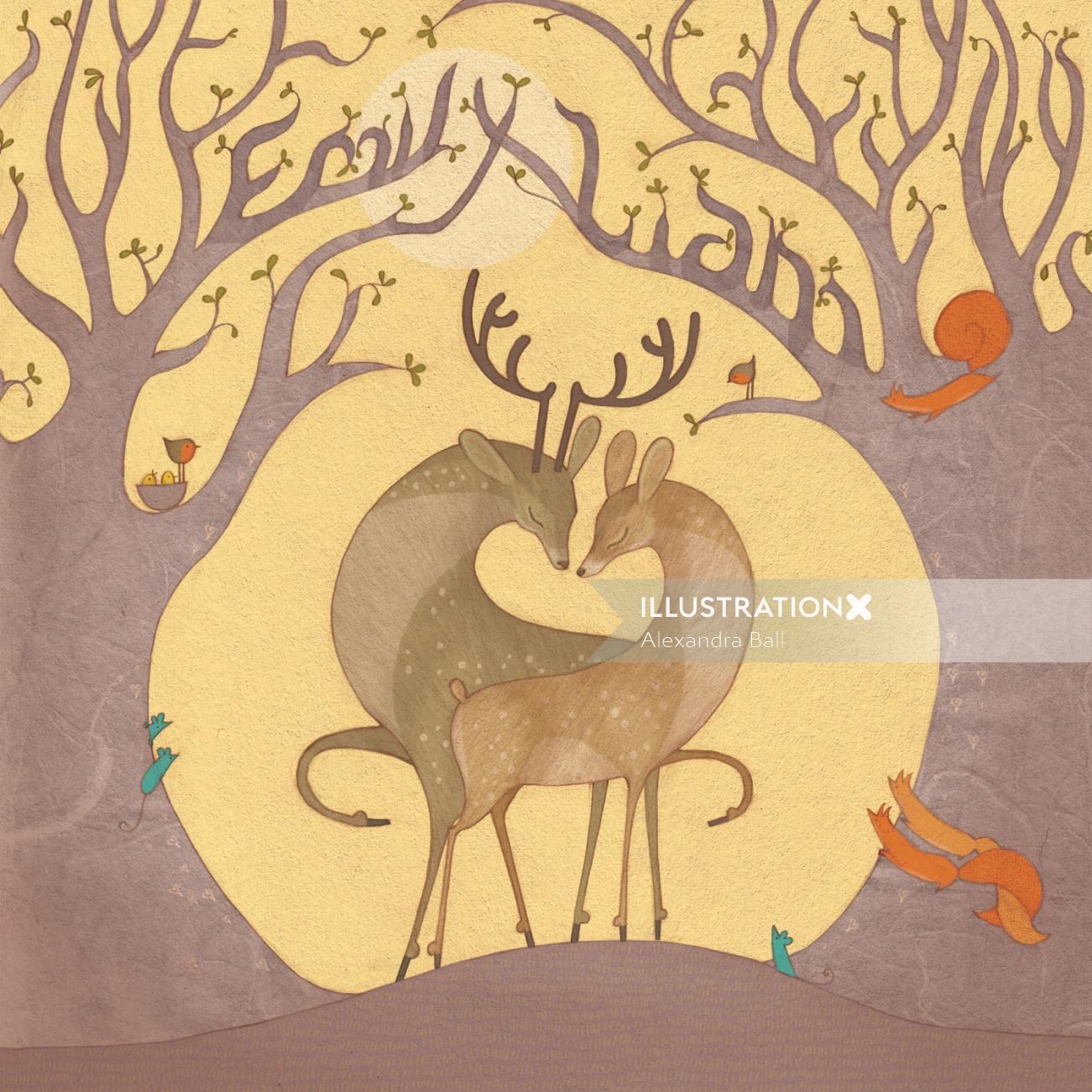 Nature illustration of Deer in love