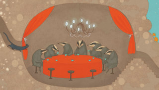badgers sitting around a table illustration