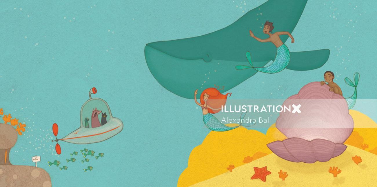 Nature illustration of fishes under submarine