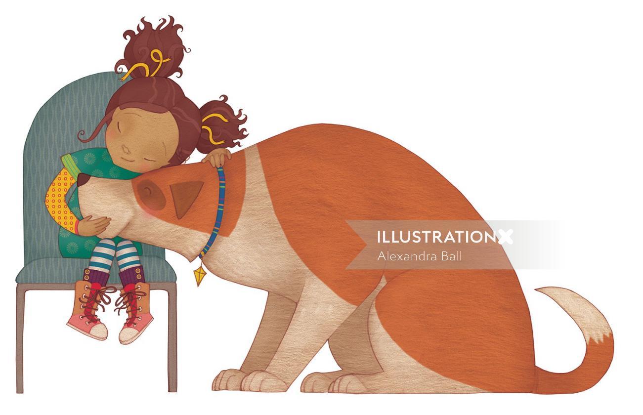Animals Mary and Giant dog