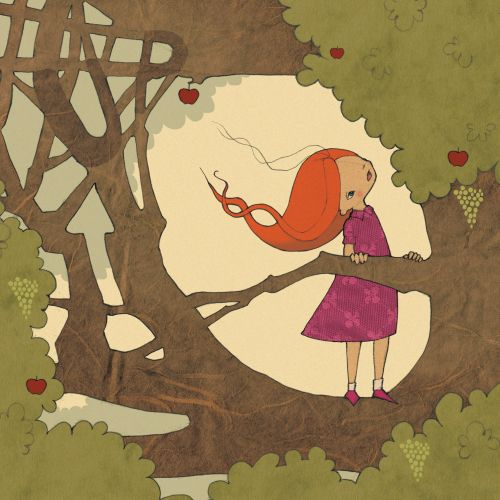 Girl on tree illustration