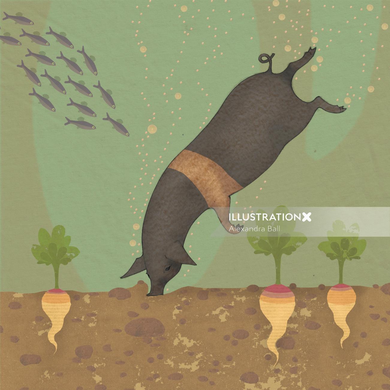 swimming pig wild animals in underwater nature