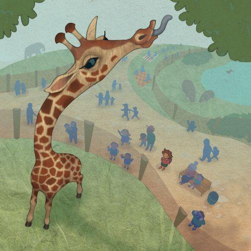 Aerial View of perspective giraffe eating leaves zoo people