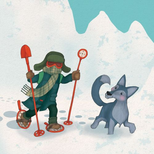 A Kid and dog playing in snow illustration