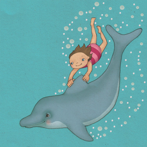 child girl riding on back of dolphin underwater line illustration