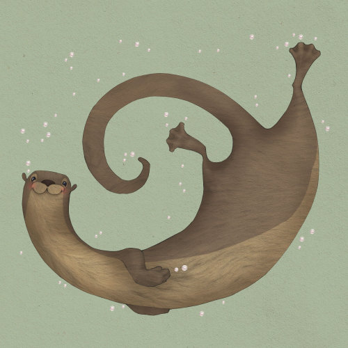 Illustration of happy otter swimming underwater in a friendly and playful way