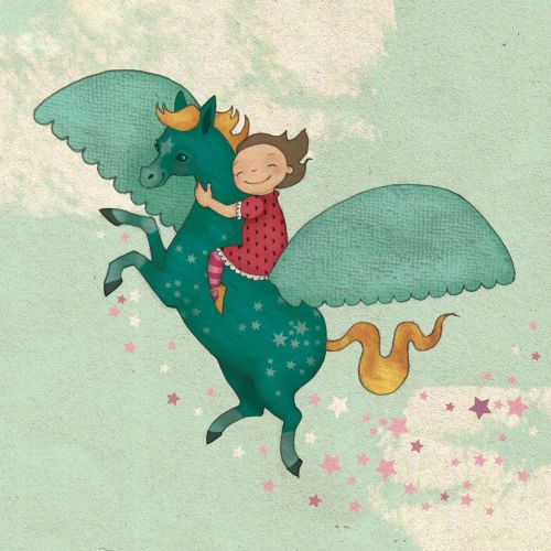 fantasy girl riding on the back of pegasus mixed media