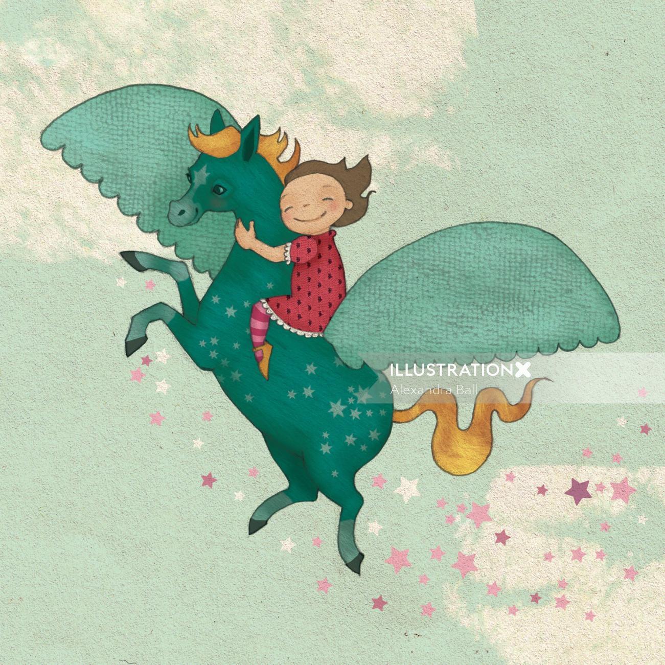 fantasy girl riding on the back of pegasus mixed media