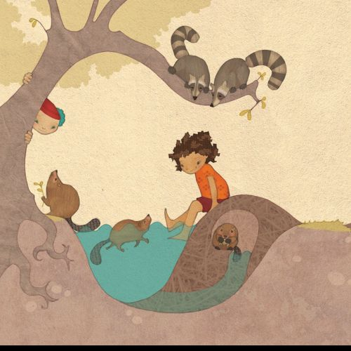 Illustration of a boy playing in water under a tree
